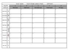 elementary weekly lesson plan template