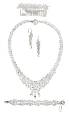 Single-Strand Necklace, Bracelet, Earring and Hair Comb Set with Swarovski Crystal Beads and Drops, Seed Beads and Wirework - Fire Mountain Gems and Beads