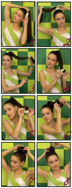 hair bun with a sock/ so did this in middle school!!!