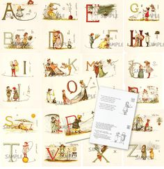 Vintage Alphabet Cards - Make a banner - Hang on the wall - Vintage Reproduction - Set 003