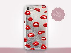 Lips Glitter Phone Case Clear Case For iPhone 8 iPhone 8 Plus