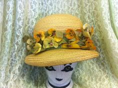 1960's Straw Bucket Hat with Silk Flowers by AntiqueSugar on Etsy, $25.00
