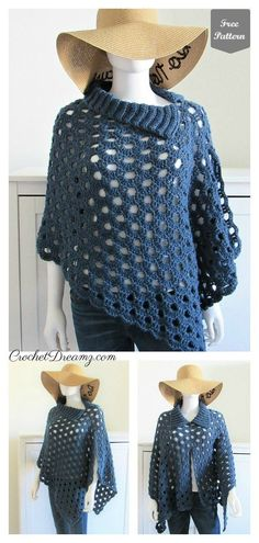Just Beachy Summer Poncho Free Crochet Pattern is a very easy to make and beginner-friendly project that only takes around 6 hours to make. Poncho Au Crochet, Mode Crochet, Crochet Jacket, Crochet Scarves, Crochet Clothes, Knit Crochet, Crochet Summer, Crochet Sweaters, Crochet Patterns For Beginners