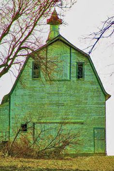 Old weathered green barn pinned from fineartamerica.com
