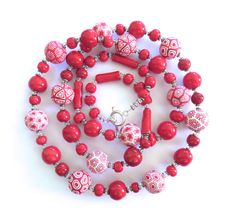 Samunnat and Kazuri Bead Necklace Long Red by lizbriggsdesigns, $74.00