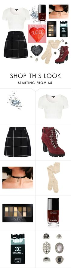"""""""Rebel Chic ✌️(Charli XCX Inspired)"""" by cutiepiejuvy ❤ liked on Polyvore featuring Topshop, Charli, Nine West, Marlangrouge, Maybelline, Chanel, women's clothing, women, female and woman"""