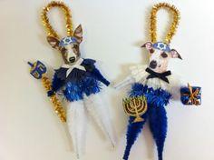 Whippet Hanukkah Vintage Style Chenille Ornaments Set of 2 | eBay