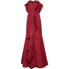 Oscar de la Renta ruffle flared gown ($6,790) ❤ liked on Polyvore featuring dresses and gowns
