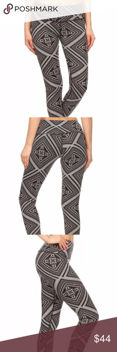 NWT super soft tribal print yoga pants NWT super soft brushed poly/spandex yoga pants. High waist. Black, pink & white print. These are brand new with tags. Great for yoga, dance, running, lounging or pair with a cute tunic or long cardi + tee for running about town. Super soft & comfy! Pants Leggings