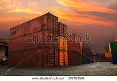 Cargo container store at twilight time , dark tone