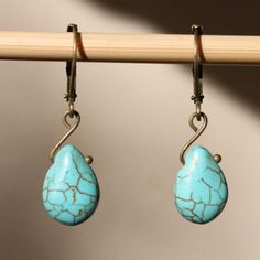 Turquoise Earrings Turquoise Brass Earrings Tear Drop Small Earrings Dangle Southwest on Etsy, $16.50