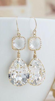 Clear White Swarovski Crystal Earrings in Gold tone from EarringsNation Class Weddings Vintage Style Weddings