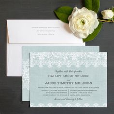 Burlap and lace wedding invitation in light blue