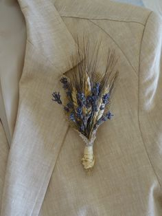 Lavender And Wheat With Burlap Lapel Pin - Country Weddings - European Elegant Wedding - Lavender Boutouniere on Etsy, $10.72 AUD