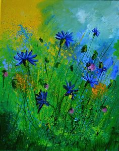 Blue Cornflowers 4571 Painting by Pol Ledent
