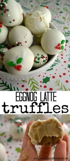 These eggnog latte truffles are the perfect addition to your holiday baking this year - creamy, simple, and packed with the flavor of the perfect holiday red cup drink! Christmas Cooking, Christmas Desserts, Holiday Treats, Christmas Treats, Holiday Recipes, Holiday Gifts, Easy Christmas Cookie Recipes, Christmas Coffee, Coastal Christmas