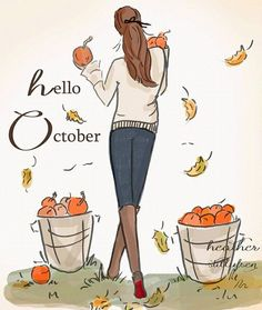 Rose Hill Designs by Heather Stillufsen Rose Hill Designs, Neuer Monat, Hello Weekend, Hello Autumn, Autumn Fall, Illustrations, Months In A Year, Happy Fall, Fall Halloween