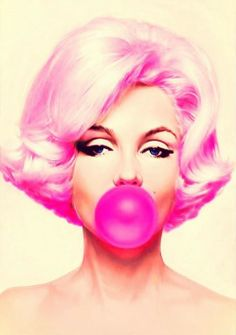 Pink Bubble Gum Marilyn Monroe By Michael Moebius