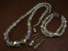 "#Vintage 1950s Aurora Borealis Crystal #Wedding JewelrySet.   Necklace is made up of graduated AB crystals with the largest one measuring 1/2"" in diameter. Size:  22"" L (not ... #wedding #vintage #jewelry #ecochic #teamlove #ezvintagefinds"