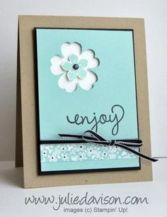 enjoy card by Julie Davison.... love the petite petals punch inside the negative space of the pansy punch!