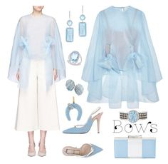 """Delpozo  Bow Organza Cape Top"" by yours-styling-best-friend ❤ liked on Polyvore featuring LE VIAN, Salvatore Ferragamo, Delpozo, N°21, Apt. 9, Anne Sisteron, Effy Jewelry and Aaron Basha"