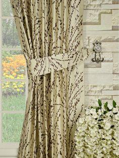 Halo Trendy Embroidered Plants Back Tab Dupioni Silk Curtains Silk Curtains, Halo, Plants, Top, Home Decor, Silk Drapes, Decoration Home, Room Decor, Corona