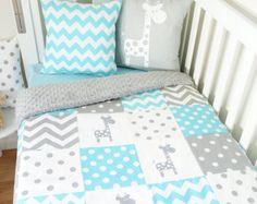 Grey and mint chevron giraffe nursery items by MamaAndCub | Etsy