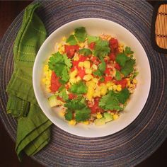 What's for dinner tonight? Burrito Bowls with leftovers from last night (Cajun chicken http://theweeklymenubook.com/2015/05/19/roasted-chicken-recipes-glutenfree-caseinfree/, cilantro lime rice http://theweeklymenubook.com/2015/02/20/cilantro-lime-rice-glutenfree-caseinfree-realfood/, black beans and a little pineapple salsa) plus lettuce, sweet corn, avocado, red salsa and cilantro. So easy to throw together and very tasty! #glutenfree #dairyfree #wheatfree #caseinfree #eathealthy #fresh