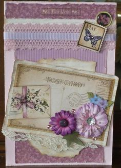 Card made with Graphic 45 paper A Place In Time.  Lace and ribbon from my stash, flowers and gems from Recollections (Michaels Stores)