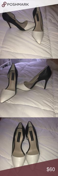 Black and white Steven by Steve Madden heels These gorgeous shoes have only ever been worn around my house, as I purchased them for a wedding but wore something else! They have white and black leather, and black suede on the outside. They are NWOT Steven By Steve Madden Shoes Heels