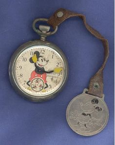 Mickey Mouse Ingersoll Made in USA 1930's pocket watch with fob as is