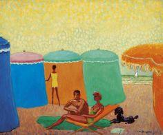 """Kees van DONGEN  """"Deauville, the tents, 1956""""  (Dutch painter, 1877-1968)  #Deauville #Côte-Fleurie #Calvados #Normandie"""