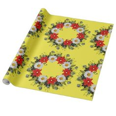 """Wreath """"Merry Wedding"""" Flowers Wrapping Paper - wrapping paper custom diy cyo personalize unique present gift idea"""