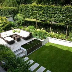 jardin paysager, paysager son jardin avec terrasse et mobilier de jardin