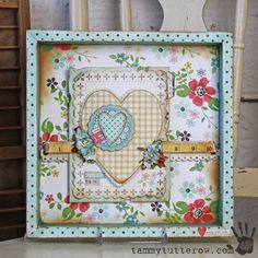 What a beautiful LOVE YOU SHADOW BOX created with Homespun paper and Botanica Flowers!  It was created by Tammy Tutterow and it is perfect for anyone who loves a vintage look!