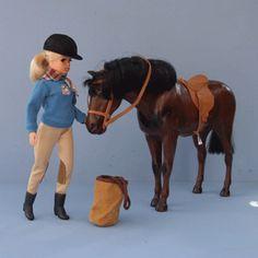 Sindy - although my Sindy had a grey fuzzy felt horse Childhood Toys, Childhood Memories, Sindy Doll, Barbie, Fuzzy Felt, Vintage Dolls, My Children, Fashion Dolls, Riding Helmets
