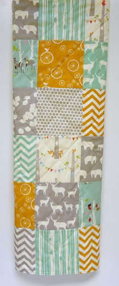 Organic Baby QuiltModern Rustic Birch by NowandThenQuilts on Etsy, $110.00