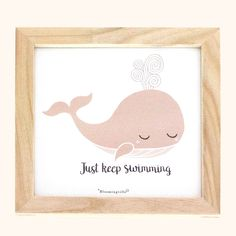 """Just Keep Swimming"" whale wall decorDimensions: 8"" SquareWooden Frame"