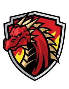 Red dragon esports logo design vector image on VectorStock Dragon Head, Red Dragon, Dragon Sports, Logo Dragon, Shield Vector, Team Logo Design, Esports Logo, Fantasy Armor, Game Logo
