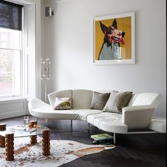 Living room with dog artwork