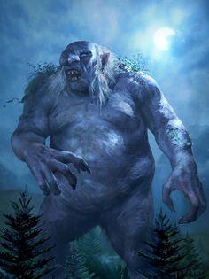m Giant Troll Conifer Forest Hills Wilderness by Kari Christensen High Fantasy, Medieval Fantasy, Fantasy World, Fantasy Art, Fantasy Creatures, Mythical Creatures, Larp, Science Fiction, Fantasy Beasts