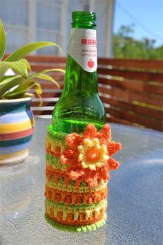 Citrus Colours Crocheted Stubbie Cooler/Bottle Cosy/Koozie with flower