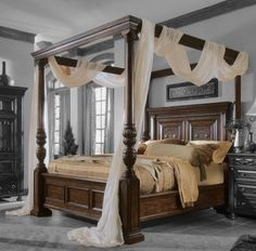 Hooker Casablanca Knotty Cherry King Size Canopy Bed...where to buy it at mbwfurniture.com