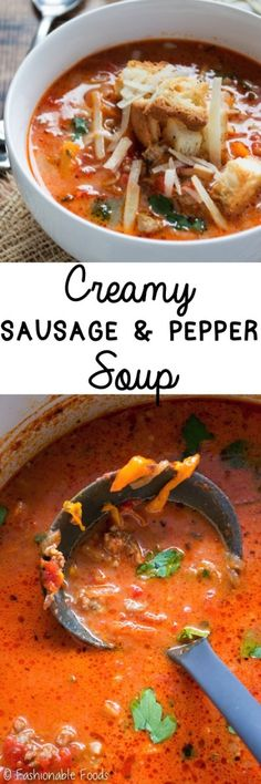 Classic sausage and peppers in soup form! This creamy sausage and pepper soup is full of flavor, really easy to make, and topped off with crunchy garlic and herb croutons.