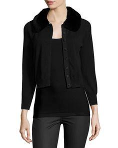 TAB8G Neiman Marcus Cashmere Collection Fur-Collar Cashmere Shrug