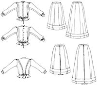 "Folkwear Pattern #216 - Schoolmistress' Shirtwaist and Skirt. A more flattering cut than a Gibson Girl type shirt. NB, the pattern only goes up to a 36"" bust. Would have to add a yoke."