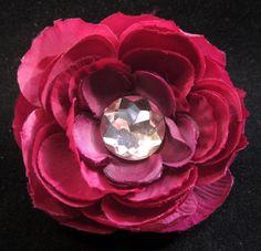 #Handmade Magenta Flower and Jewel Hair Clip by ninjavspirategifts on Etsy, $8.00