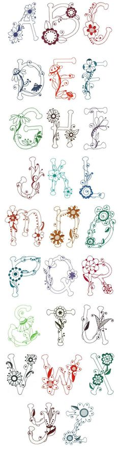 Embroidery | Free Machine Embroidery Designs | Flirty Florals Redwork Alphabet❤️: