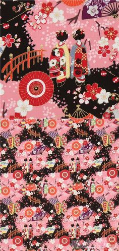 "black, pink cotton sheeting fabric with geishas, fans, sakura flower etc., with metallic gold embellishment, Material: 100% cotton, Pattern Repeat: ca. 30cm (11.8"") #Cotton #People #Metallic #JapaneseFabrics"