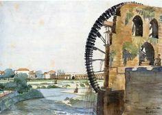 The water wheel al-Mamuriya. Watercolour by Ejnar Fugmann, 1935.